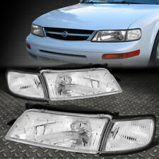 FOR 97-99 NISSAN MAXIMA CHROME HOUSING CLEAR CORNER HEADLIGHT REPLACEMENT LAMPS