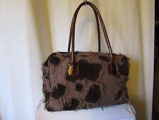 sac  free lance toile tissée taupe daim marron et cuir marron