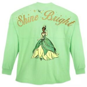 Disney Store Tiana Spirit Jersey Princess & the Frog Green Glitter Women's Top