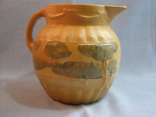 ROSEVILLE POTTERY EARLY LANDSCAPE DECORATED PITCHER!  YELLOW WARE