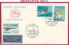 ITALIA FDC CAVALLINO VIA AEREA CONCORDE VOLO BOLOGNA PARIGI 1987 ANNULLO Z790