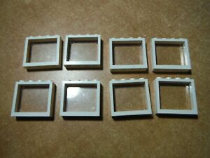 LEGO LOT 8 WHITE WINDOW FRAMES 1X4X3 WITH CLEAR GLASS PANES #60594