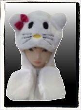 CUTE NEW WINTER SNOW ANIMAL HELLO KITTY CAT FUR HAT BEANIE CAP SCARF GLOVES