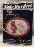 DALE BURDETT Teddy Walking Goose w/ Wood Frame ~ Cross Stitch Kit 1985 NEW