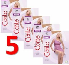 LOT of 5 Packs CONTE Women's Ladies Tights Elastic NUANCE 20 Den S M L XL XXL