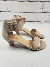 Paul Green Womens UK 5.5 US Sz 8 Low Heels Tan Leather Gold Tone Trim Open Toe