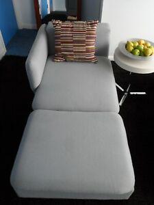 Pale blue chaise longue chair sofa, 2 seater