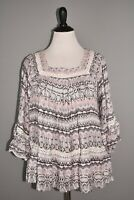 HAUTE HIPPIE NEW $76 Tribe Ivy 3/4 Sleeve Blouse in Serpent Stripe Large
