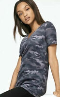 Victoria's Secret PINK Camo Short Sleeve Sleepwear V Neck T Shirt Gray Sz XS NWT