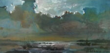 Seascape / Sailing Ship / Original Oil On Cardboard by Sergej Hahonin 25x12 cm