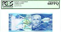 BARBADOS $2 DOLLARS 2013 CENTRAL BANK GEM UNC PICK 73 LUCK MONEY VALUE $300