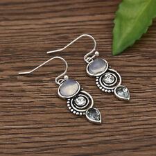 Women Retro Vintage Silver Moonstone Drop Dangle Earrings Ear Jewelry Hook Gift