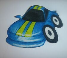 1 Iron On Iron Fabric Appilque - Blue Green Funky Racing Hot Rod Car #4-Handcut