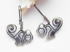 UNIQUE EARRINGS * NASCA MONKEYS * STERLING SILVER 925 HAND MADE JEWELRY