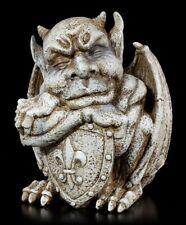 Gargoyle Gartenfigur mit Schild - Fantasy Tor Wächter Drache Garten Figur