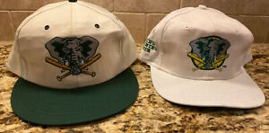 (2) Vintage 90s Snapback Hats Caps Oakland Athletics A's Stomper Spring Training