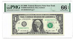 2009 $1 NEW YORK FRN, PMG GEM UNCIRCULATED 66 EPQ BANKNOTE