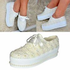 Damas Nupcial Boda Zapatos de plataforma plana perlas de Encaje Floral Satinado Talla entrenadores
