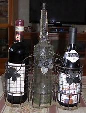 Vintage Wire & Wicker Wine Bottle Carrier with glass bottle