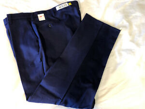 New BULWARK FR Flame Resistant Red Cap Navy Blue Men's Work Pants 48 X 32.5