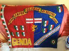 GENOA CRICKET FOOTBALL CLUB BANDIERA STADIO ANNI '80 CON SCUDETTI E COPPE ITALIA