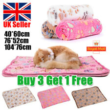 More details for large pet blanket warm rest bed mat paw print dog cat puppy fleece soft cushion