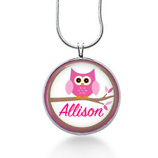 Personalized Name necklace-Pink Owl kids,children,girly,girl-ooak