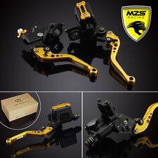 "MZS Universal Brake Clutch Levers Master Cylinder Set Reservoir CNC 7/8"" Gold"