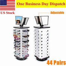 360 Rotating Sunglass Display Rack Metal 44 Pairs Glasses Stand Holder W/ Mirror
