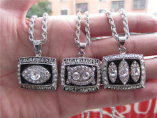 3PCS Oakland Raiders Championship Ring Pendant Necklace With Chain Men Gift