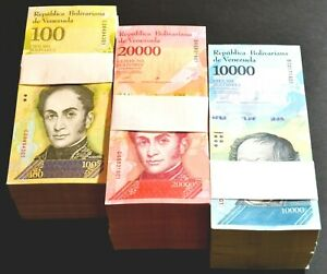 2017 Venezuela $10,000 $20,000 $100,000 Bolivares UNC 5 Packs Each 1500 Pcs S037