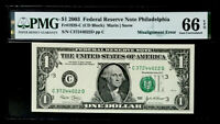 GEM $1 FEDERAL RESERVE NOTE- MISALIGNED OVERPRINT ERROR -PMG#66 EPQ GEM UNC
