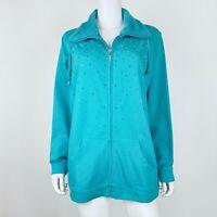 Quacker Factory Size 1X Jacket Embellished Full Zip Teal Green Sweatshirt