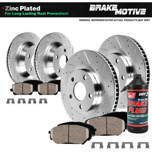 For Mercedes Benz C300 C350 E350 Front+Rear Drill Brake Rotors And Ceramic Pads