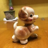 **Vintage LEFTON BROWN PORCELAIN PUPPY--PAW UP PUPPY EYES MID-CENTURY