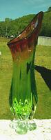 """Murano  Art Glass Sculpture Vase Green Deep Cranberry 15""""H x 5""""W*SALE 12-18-19"""