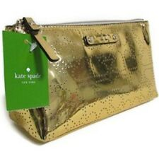 Nwt Kate Spade Little Shiloh Metro Spade Shiny Gold Cosmetic Case w/ Defect