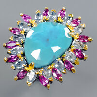 Turquoise Ring Silver 925 Sterling Fine Jewelry Design Size 7.75 /R140757