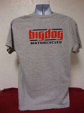 BIG DOG MOTORCYCLES LARGE GRAY T SHIRT SIGNATURE LOGO  FRONT/BACK DESIGN K-9