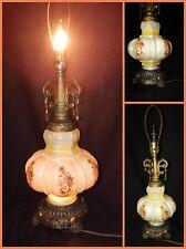 Vintage 1972  EF & EF Industries TM No 537X Flowers Glass Table Lamp Night Light