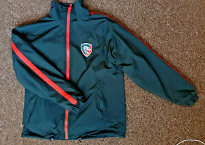 """LEICESTER TIGERS Reversible Green Bomber Jacket 2XL Pit to Pit 24"""" Big & Tall"""