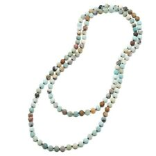 Natural Matte Amazonite Stones Endless Necklace Long Knotted 8 Mm Beaded Jewelry
