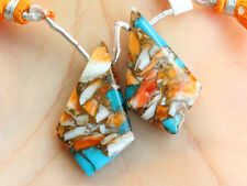 Copper Oyster Turquoise Smooth Kite Briolette Pair Beads (41080)