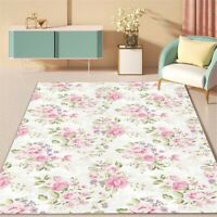 Nordic Fresh Pink Rose Pattern White Rug  Mat Antislip Carpet Bathroom Mat Decor