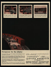 1944 EVANS PRODUCTS Co - Train - Box Cars - WWII - Jeep Ambulance - VINTAGE AD