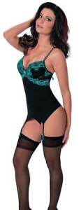 Escante Midnight Pleasure Bustier Lingerie Set with G String & Thigh High Stocki