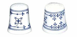 2er Set- Porcelain Fingerhut- Indian Blue Immortelle