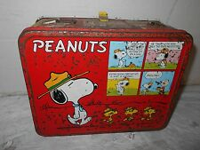 1965 Vintage COLLECTIBLE Peanuts Snoopy Charlie Brown Woodstock Metal Lunch Box