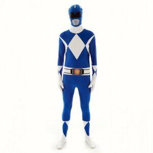 Mens Power Ranger fancy dress costume Morphsuit 90s Blue Morphcostume Outfit
