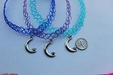 x3 stretchy tattoo chokers:blue,lig.blue,purple necklece+moon *Tib. silver charm